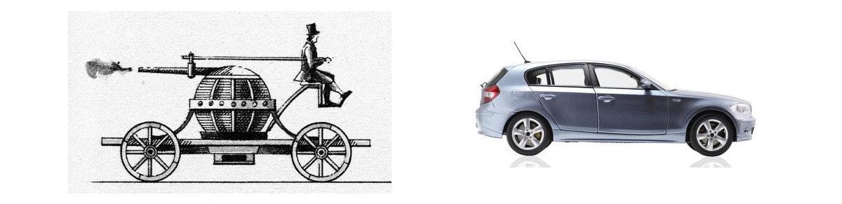 ein altes Auto und ein neues gegenübergestellt